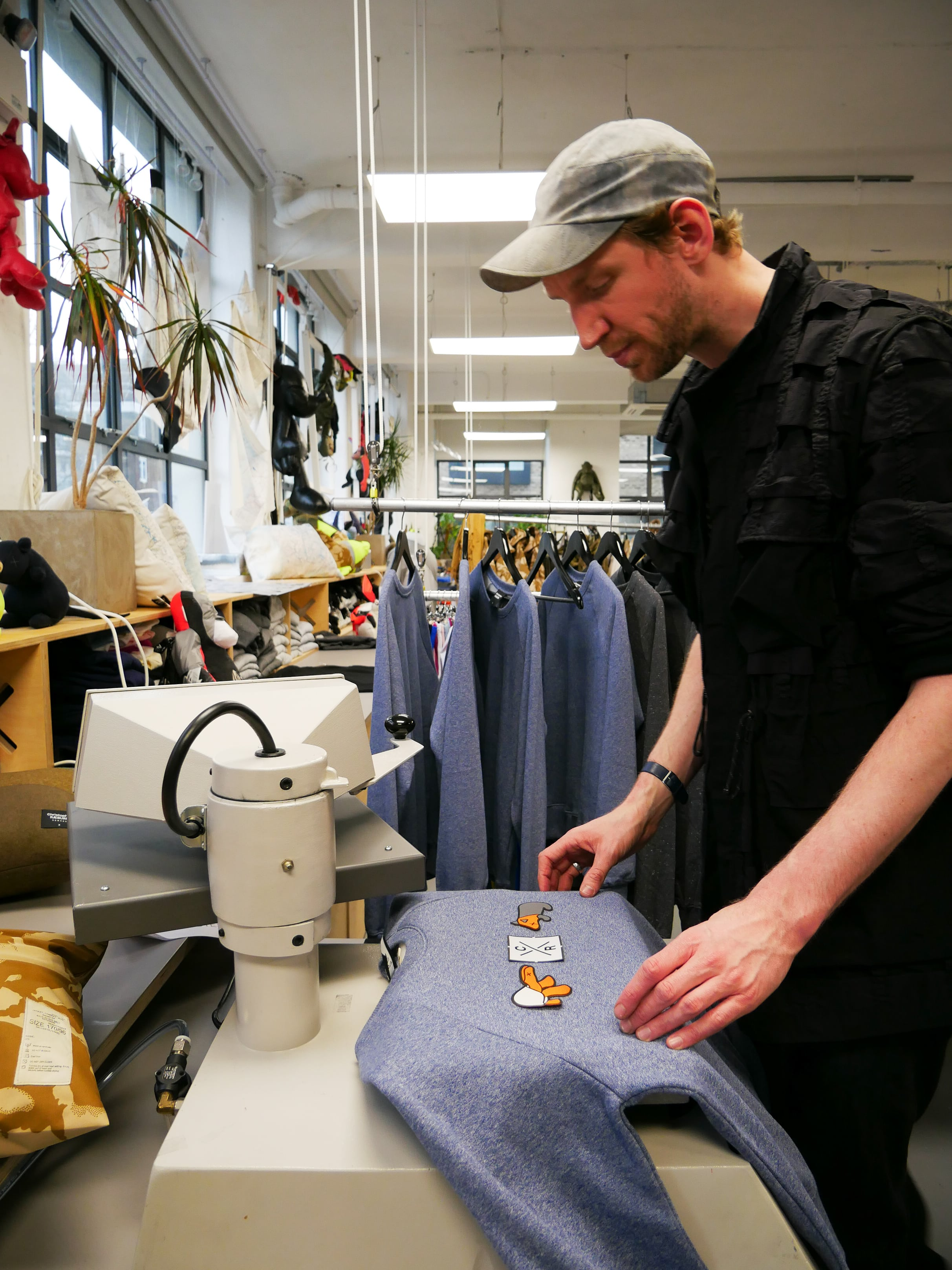 Heat pressing patches onto a sweter