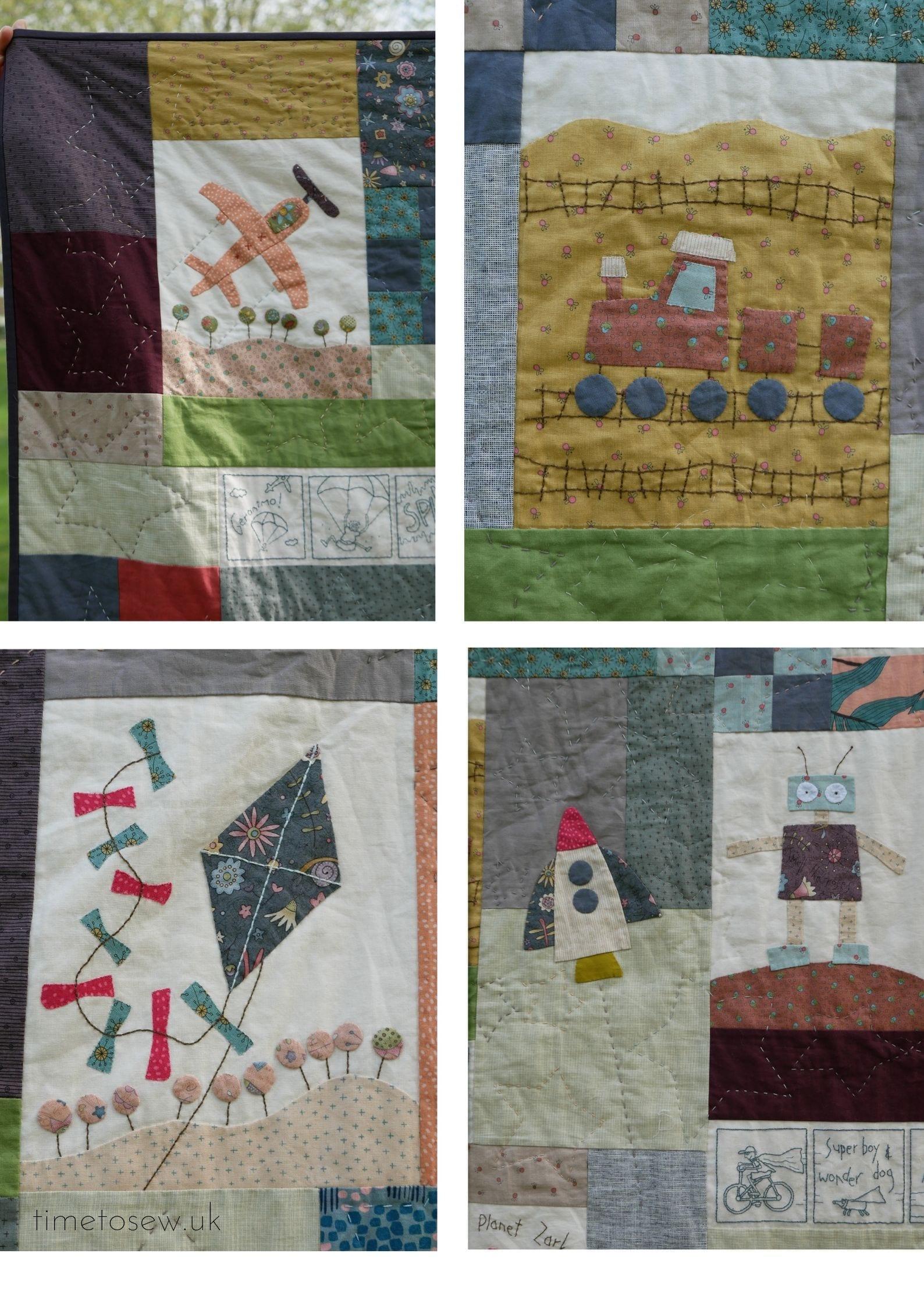 A boy's story quilt panel details