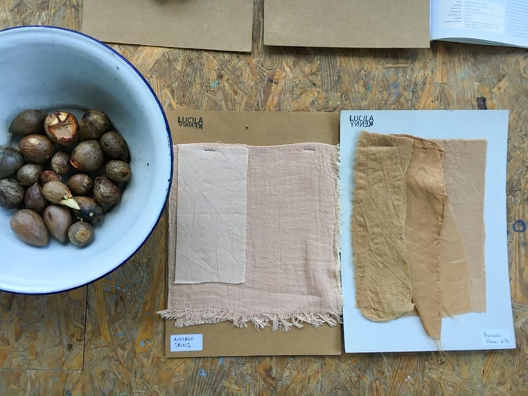 Avocado natural dye samples