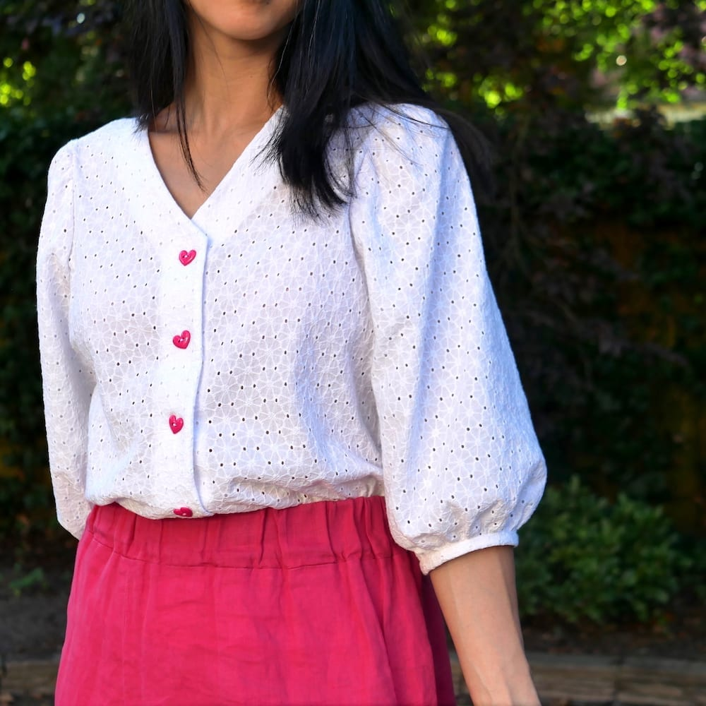 Front view of the Fibre Mood Norma blouse in broderie anglaise