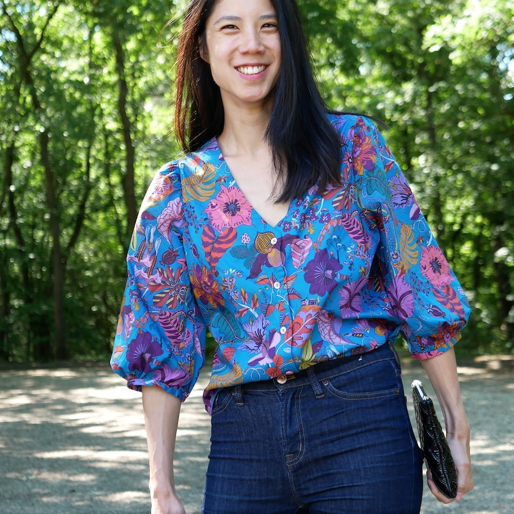 Front view of Fibre Mood Norma in Liberty tana lawn