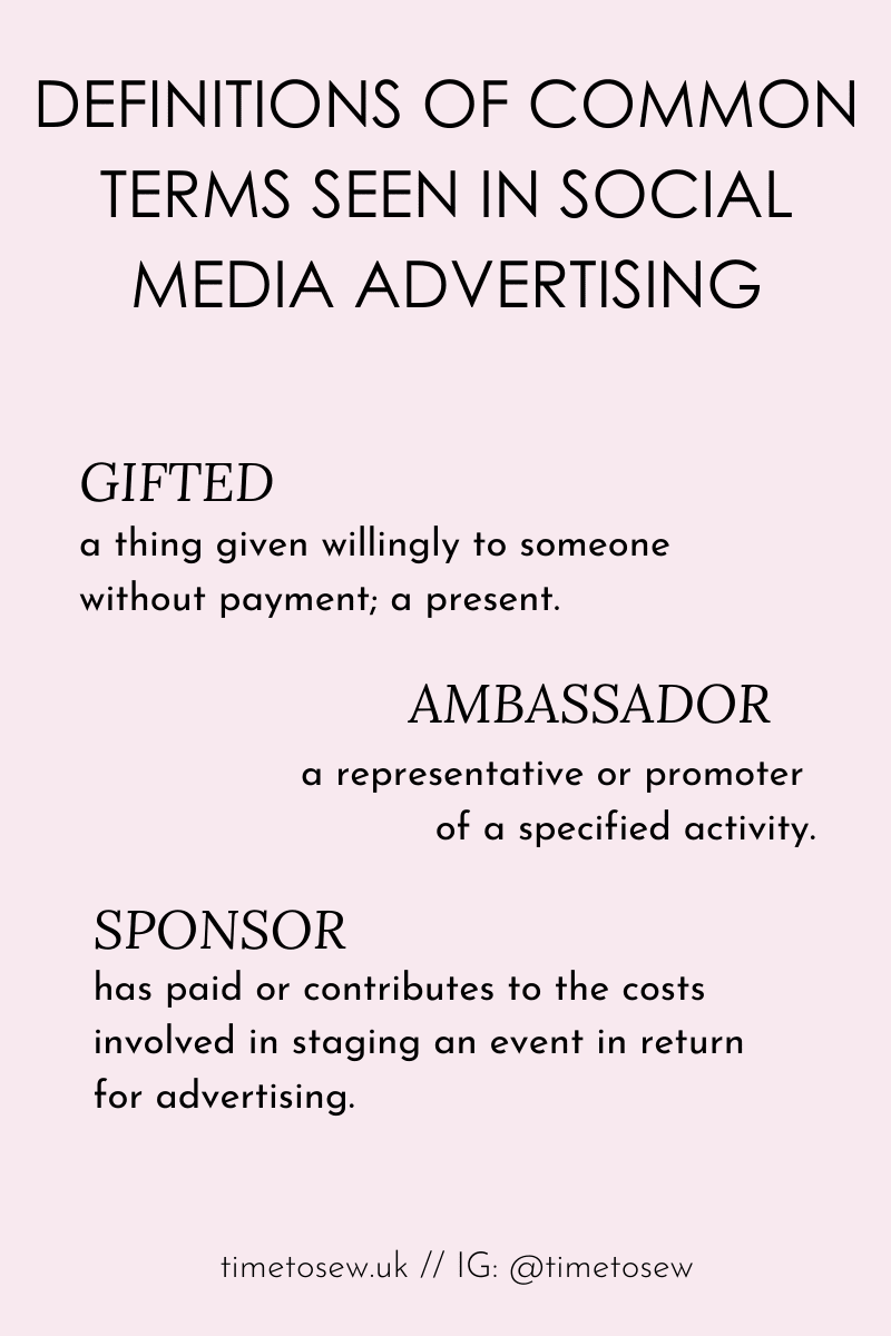 Time to Sew graphic showing the definition of commonly used terms in social media ads: gifted, ambassador, sponsor