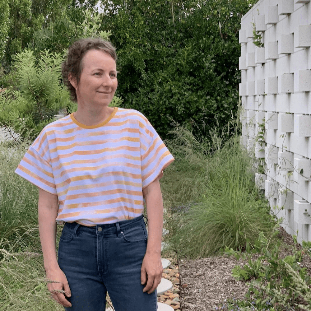 Just Patterns Tyra Tee in a yellow stripe made by Blogless Anna