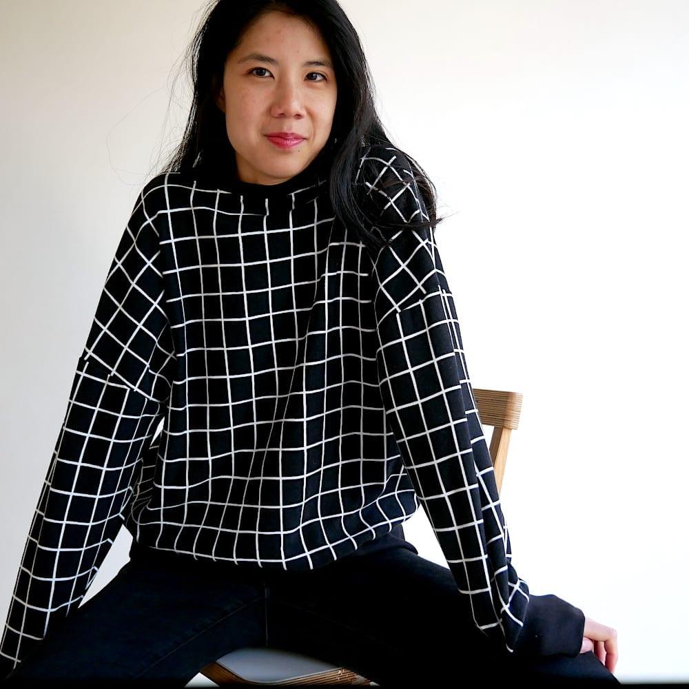 Just Patterns Tyra tee hacked into a sweatshirt, made with fleece backed sweatshirting.