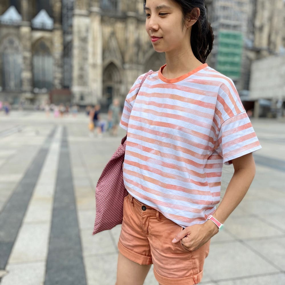 Orange and white striped version of the Just Patterns Tyra Tee