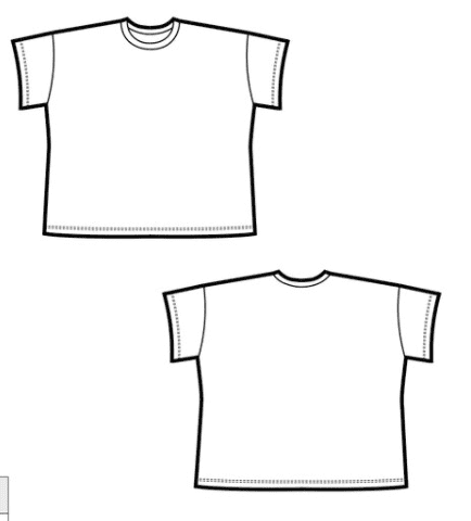 Line drawing of the Just Patterns Tyra Tee