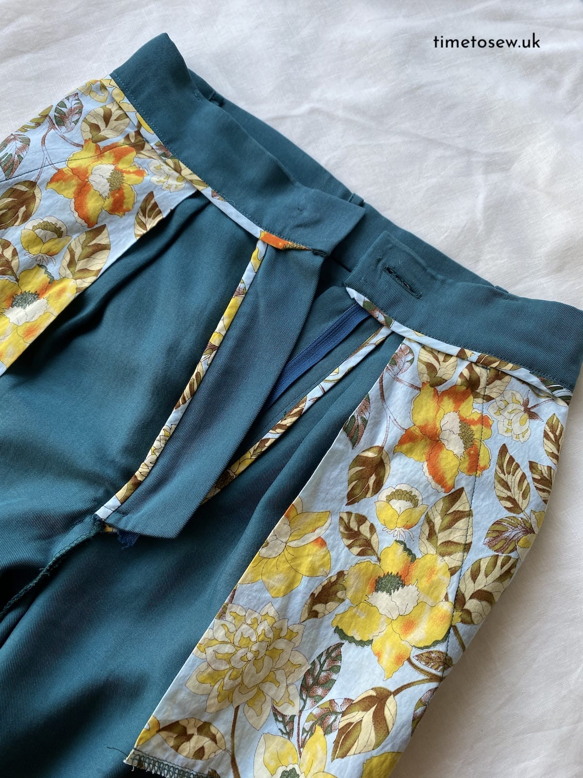 Just Patterns Tatjana Trousers close up by Time to Sew inside view