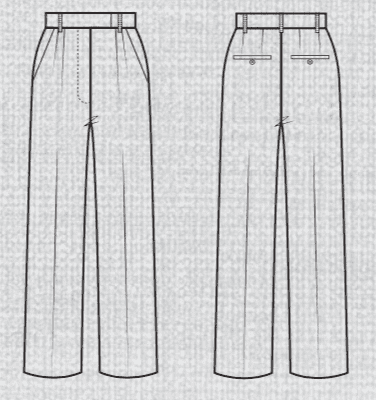 Just Patterns Tatjana trousers line drawing
