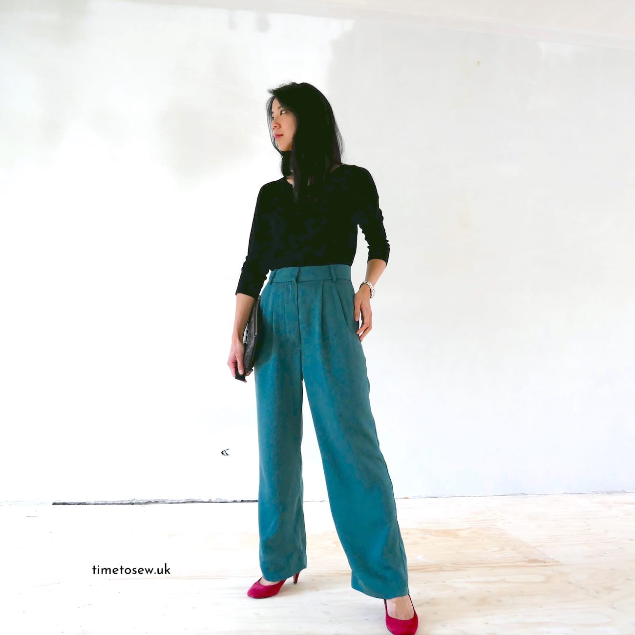 Just Patterns Tatjana trousers outfit by Time to Sew