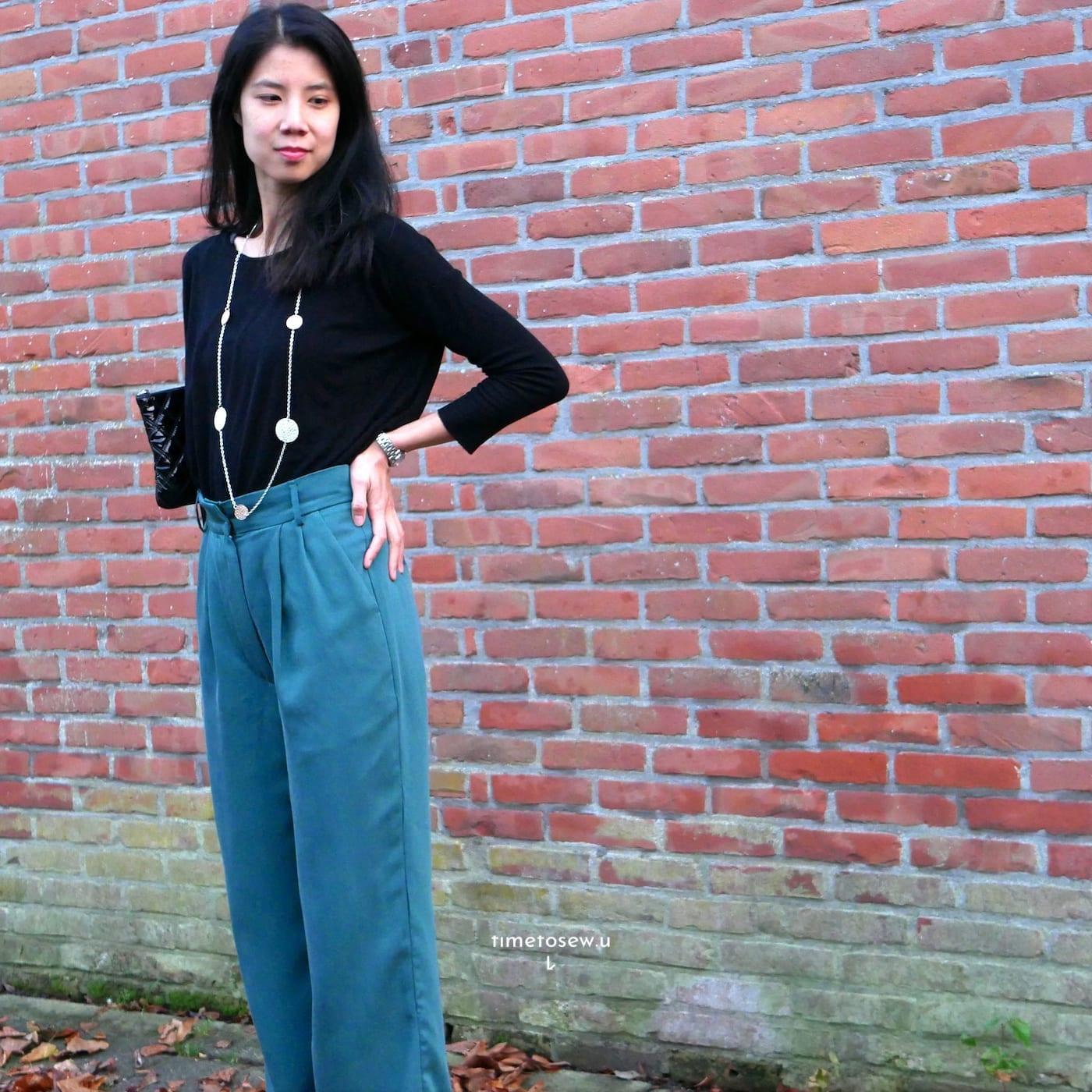 Just Patterns Tatjana trousers by Time to Sew, worn with a black top