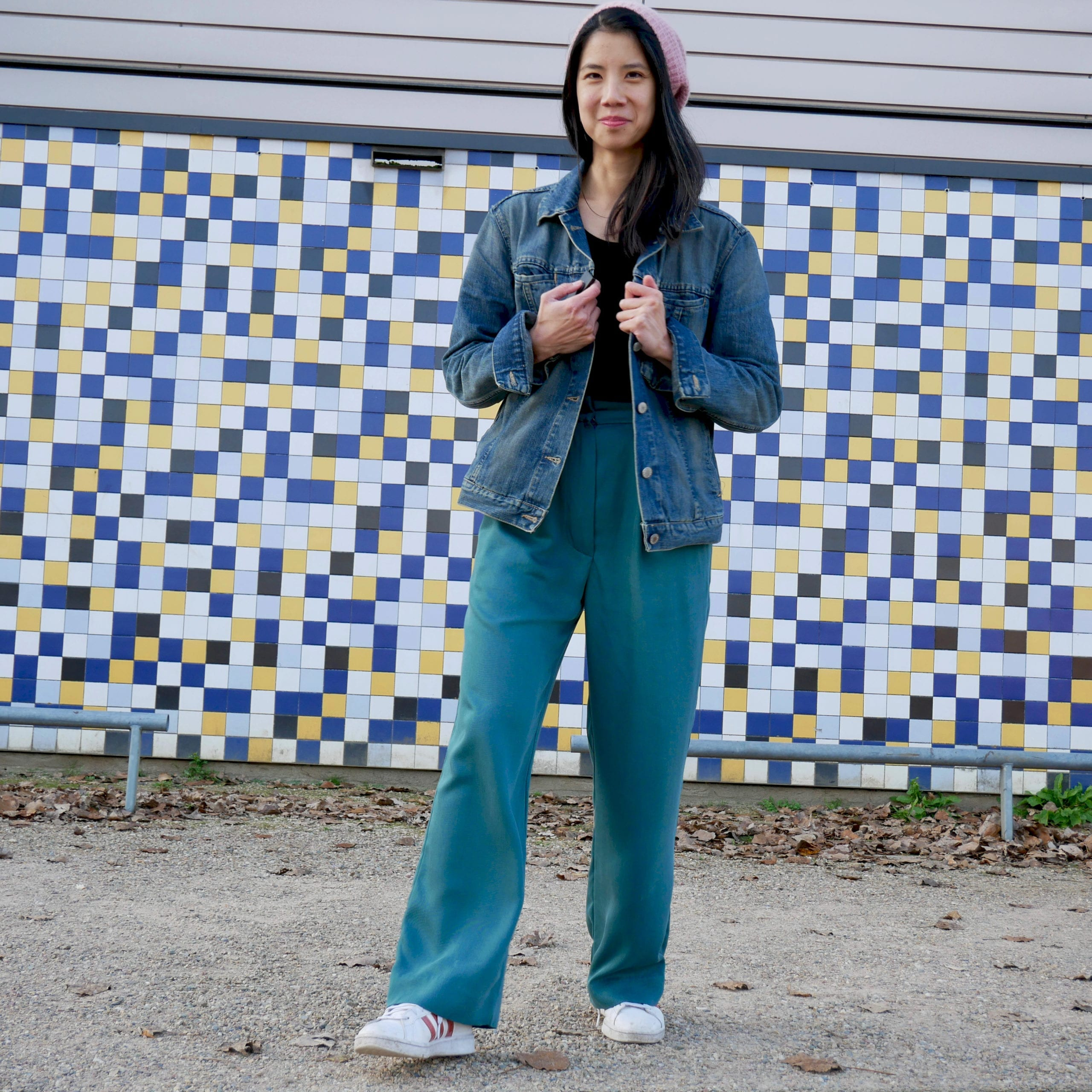 Just Patterns Tatjana trousers by Time to Sew, styled with vintage denim