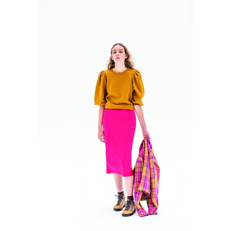 Fibre Mood Madeline bias cut skirt from issue 11. RTW top.