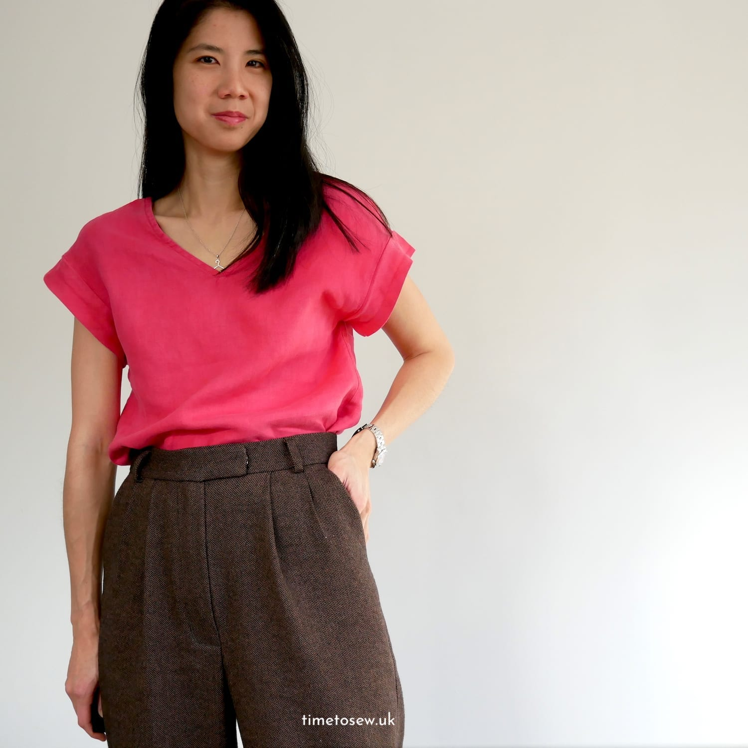 Just Patterns Tatjana in wool by Time to Sew, worn with raspberry linen Fibre Mood Ida top