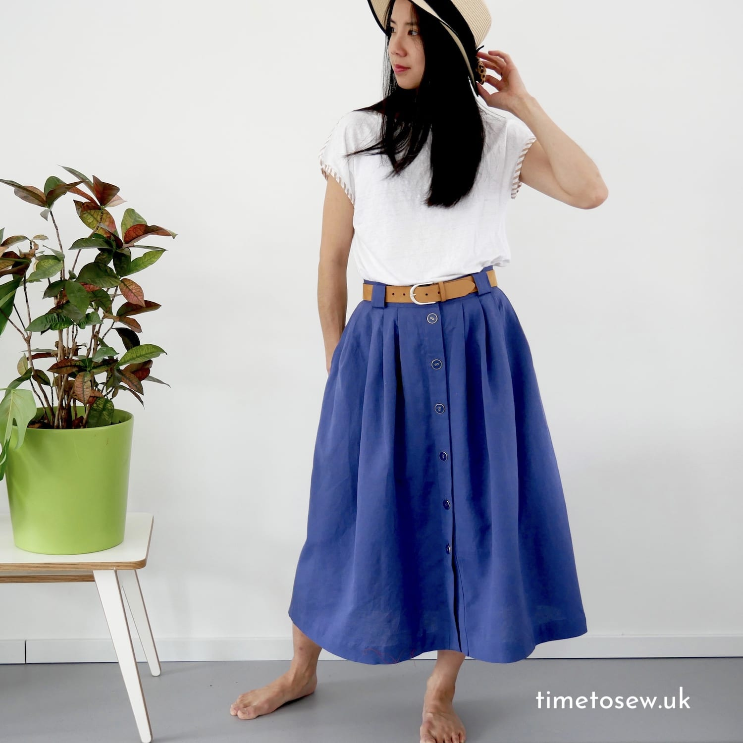 Fibre Mood Alix skirt (pleated A line skirt) by Time to Sew in blue cotton linen blend fabric