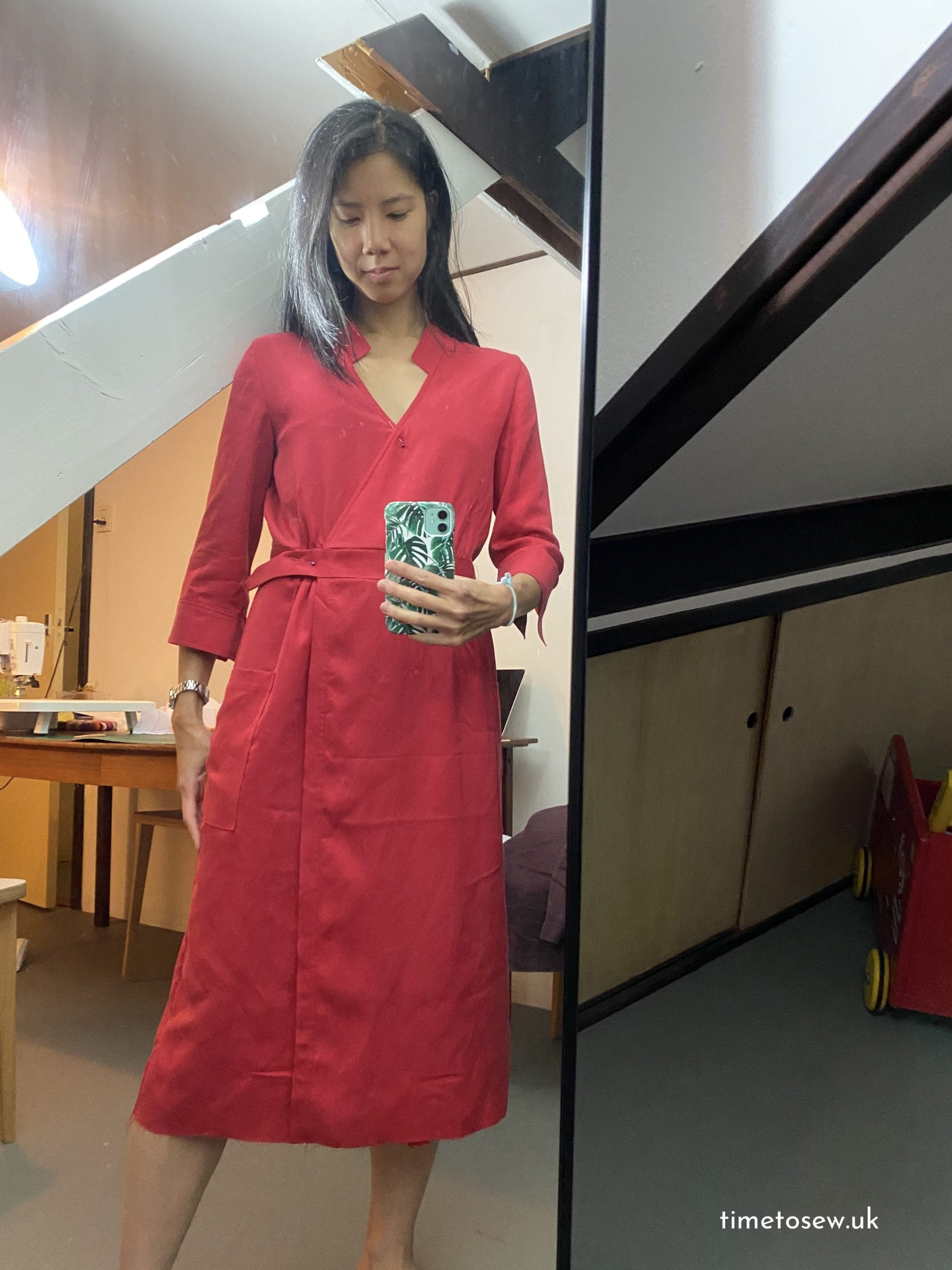 Original red dress before the skirt refashion