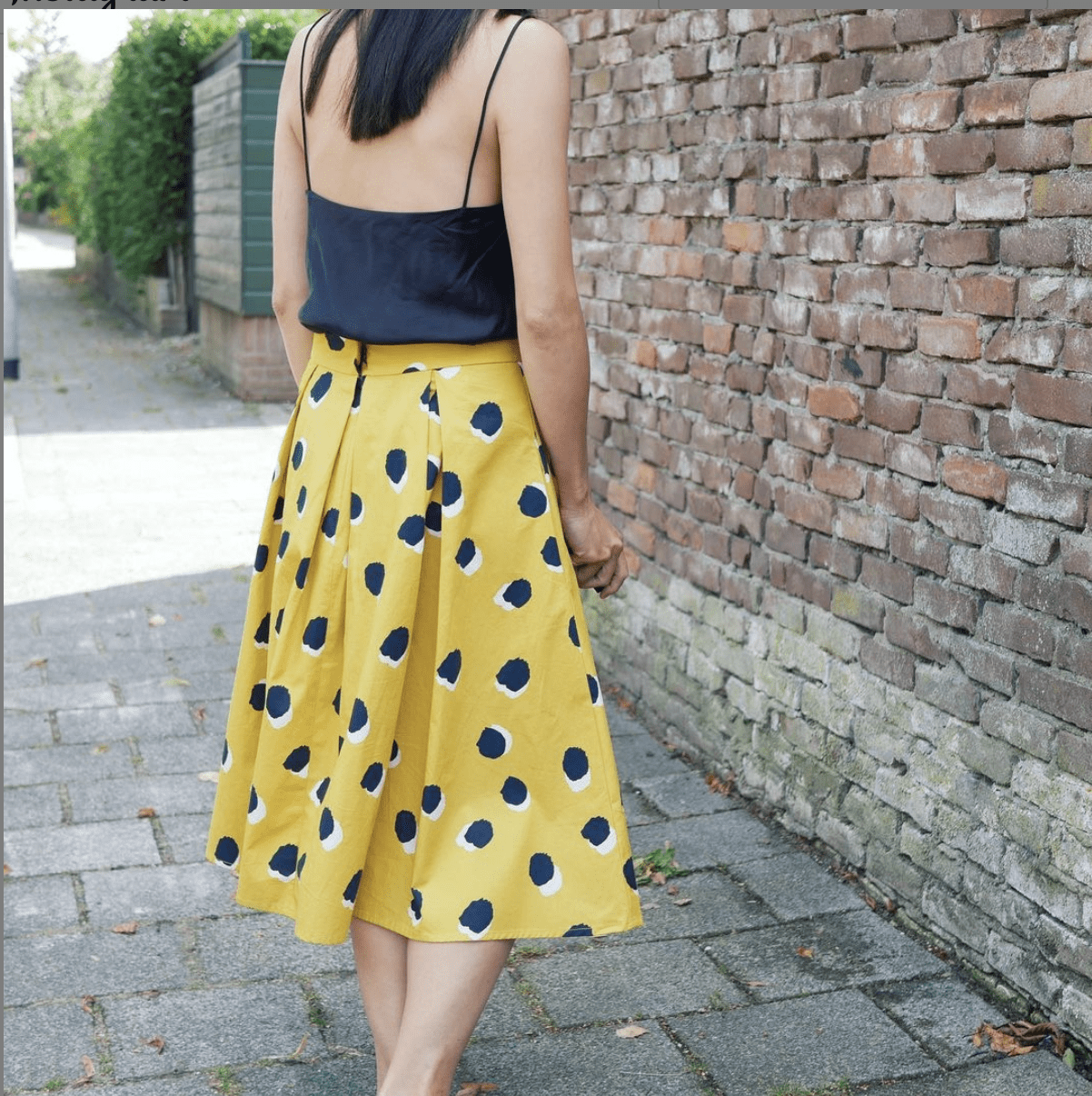 Just Patterns Stephanie Skirt in yellow printed fabric by Time to Sew