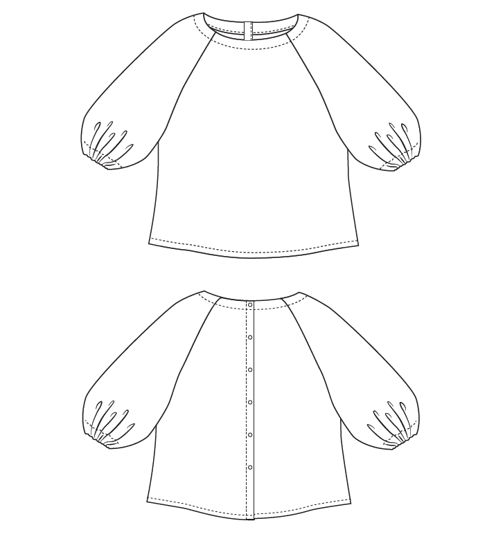 Line drawing of the Peppermint Paddington top