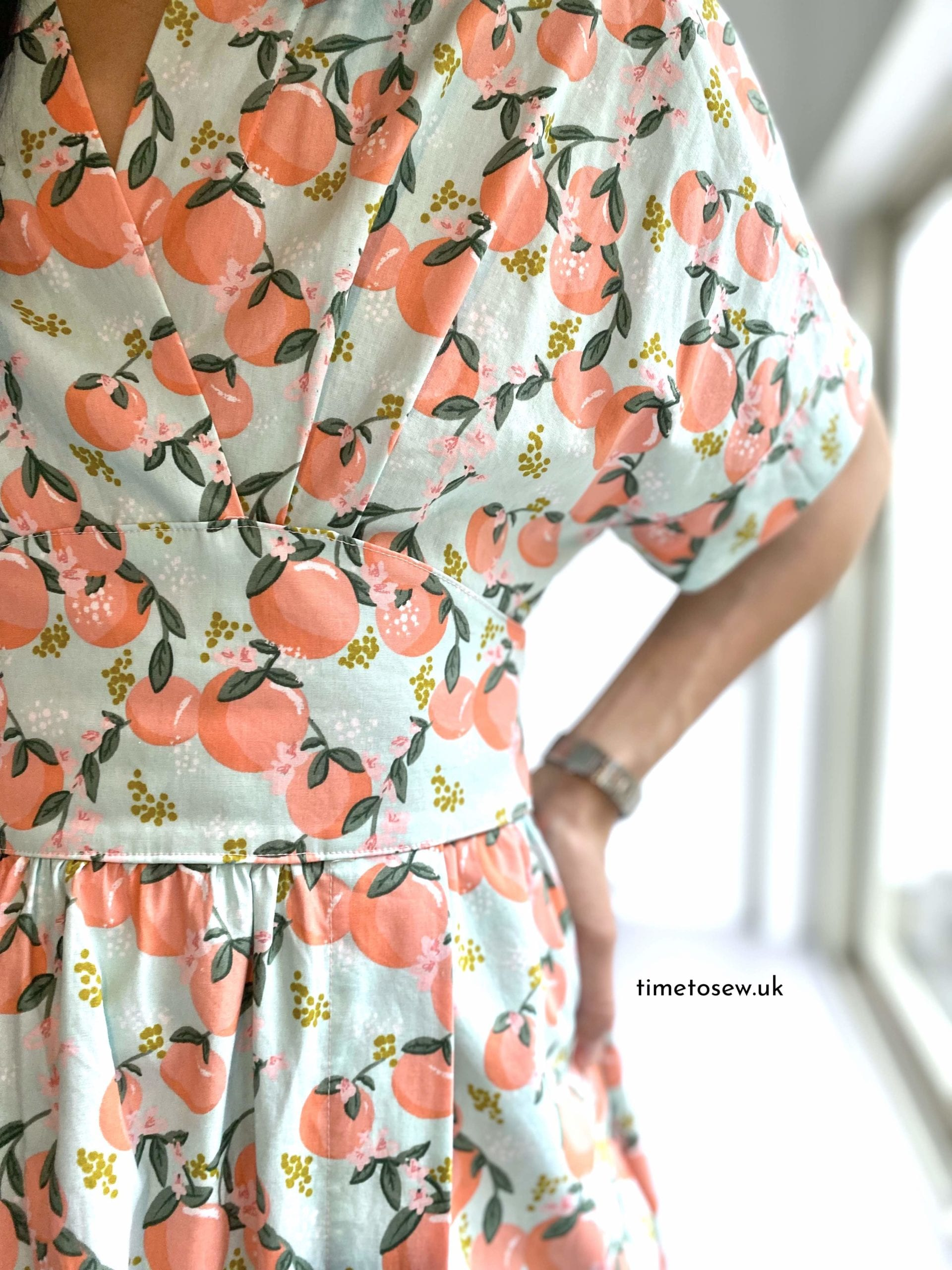 Just Patterns Helena Wrap Dress by Time to Sew close up bodice