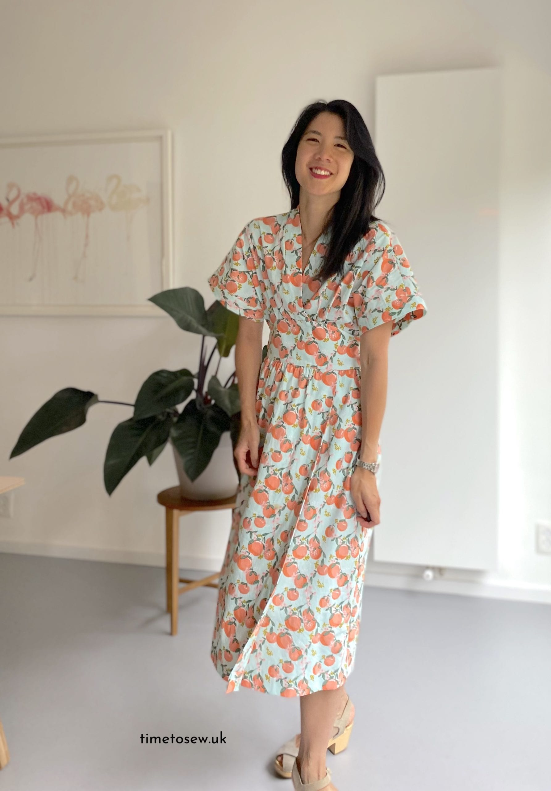 Just Patterns Helena Wrap Dress by Time to Sew oranges