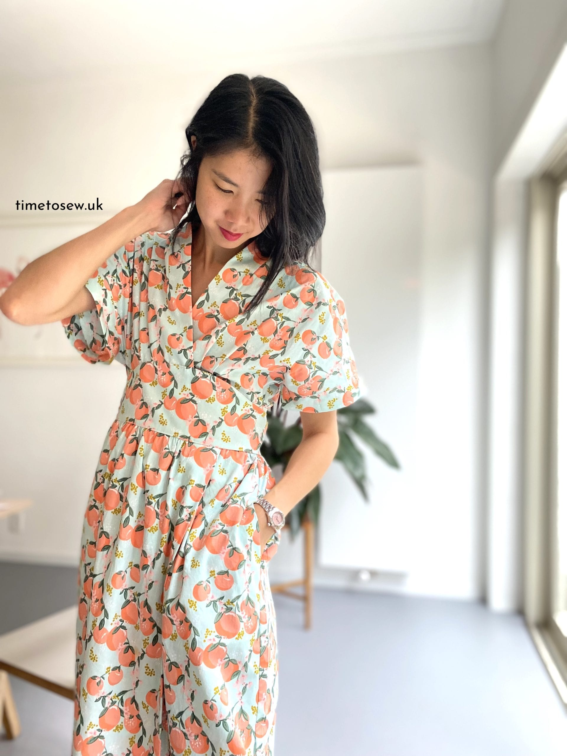 Just Patterns Helena Wrap Dress by Time to Sew side seam pocket