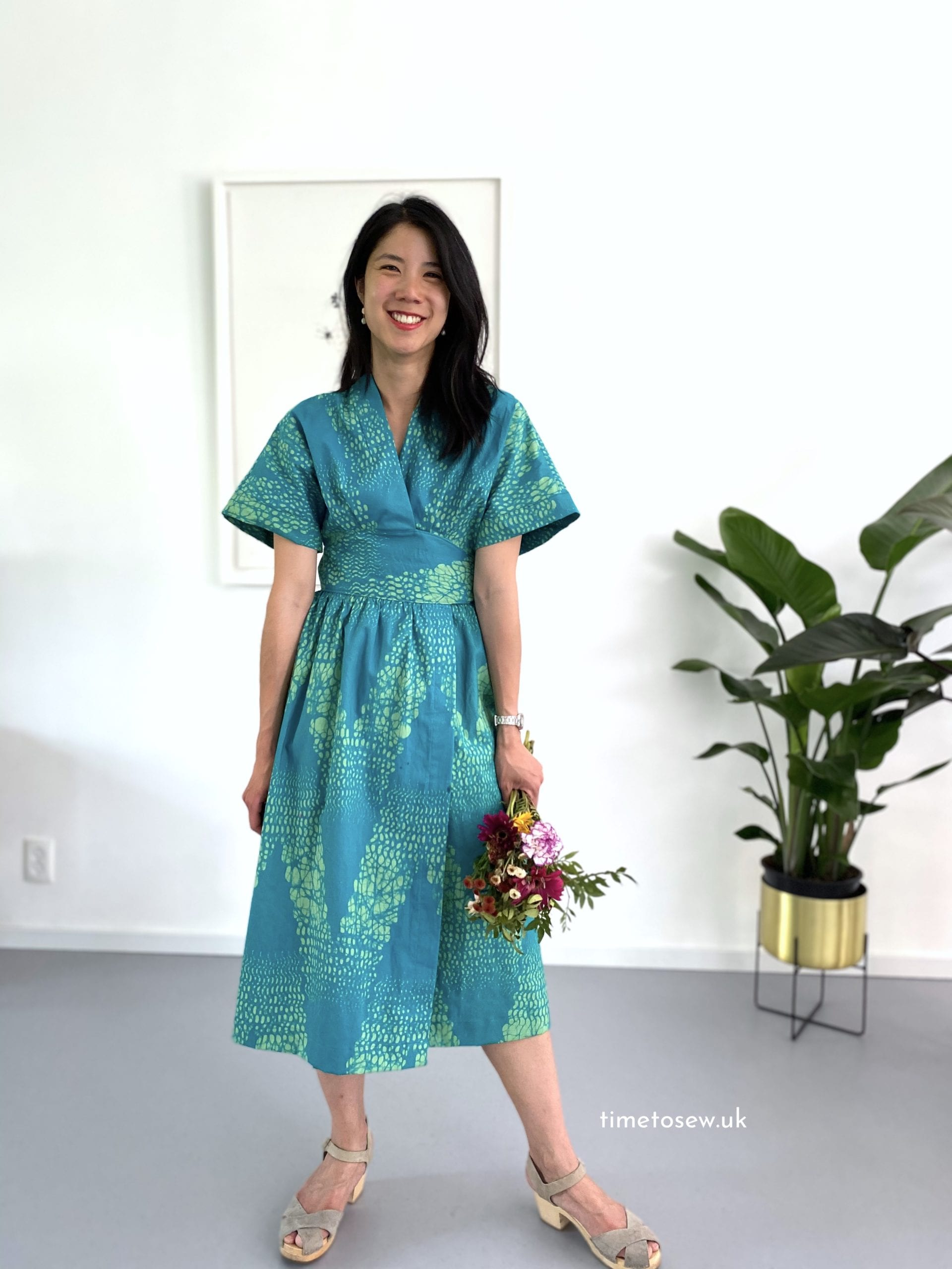 Just Patterns Helena Wrap Dress by Time to Sew wax print front view