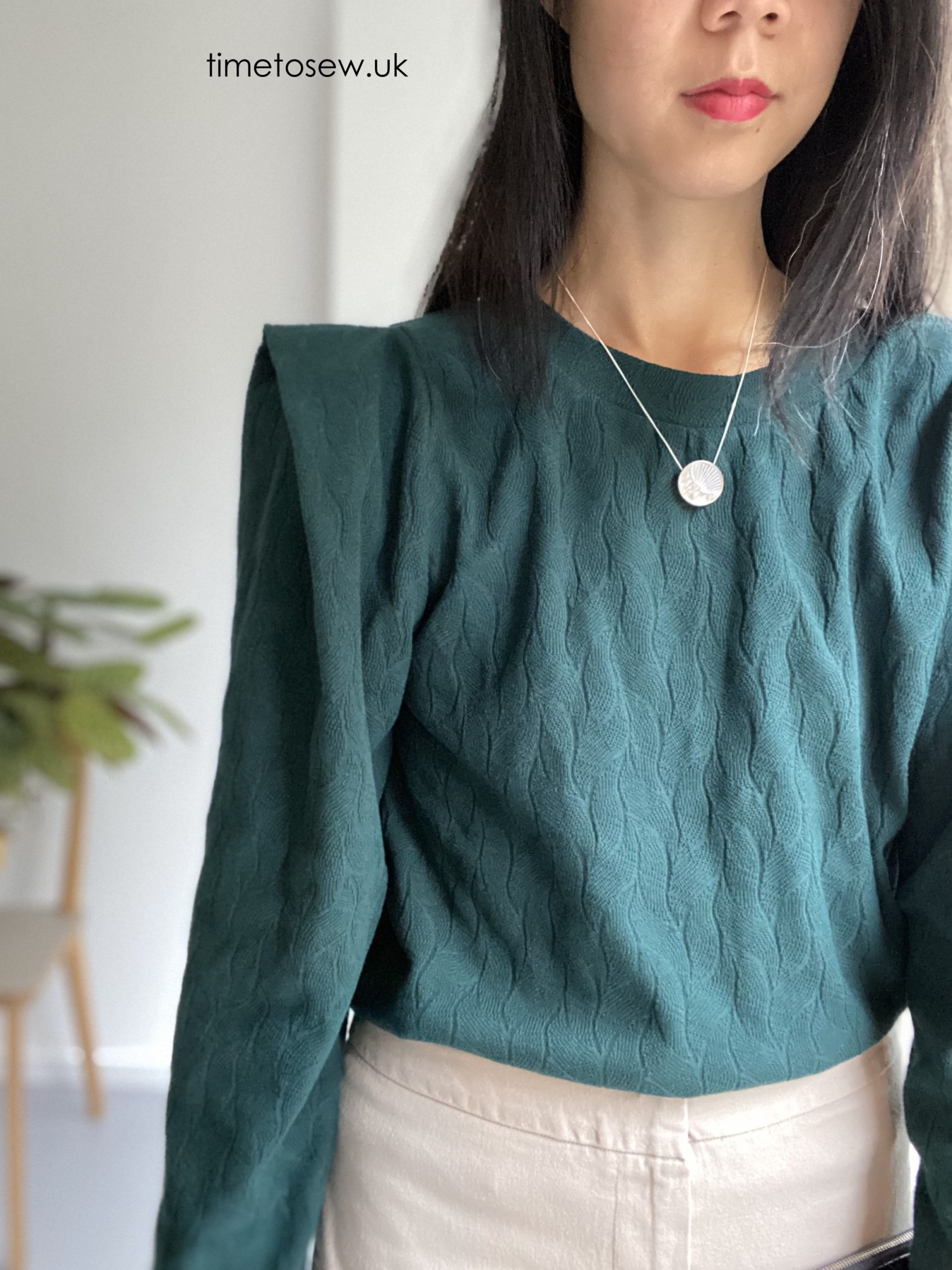 Close up of Mind the Maker organic leaf jacquard fabric